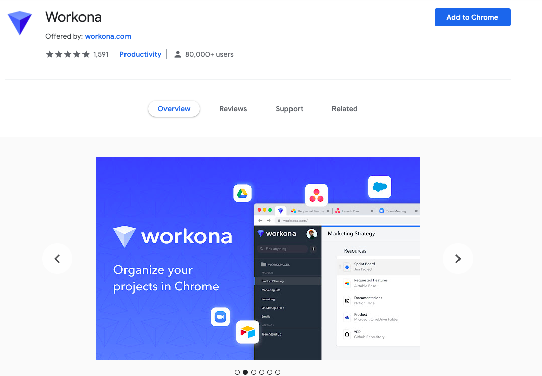 Workona: Chrome Extensions to Save Bookmark