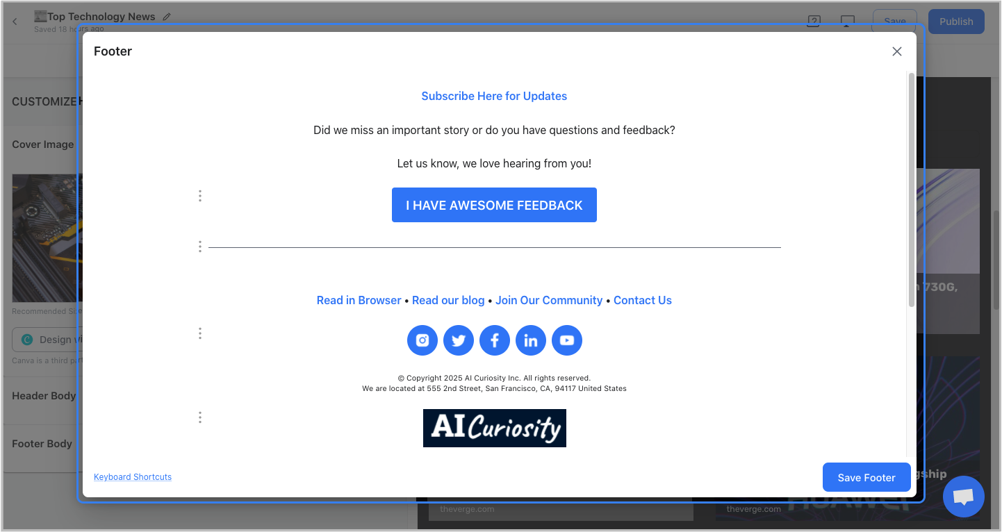 Preview of adding footer content in the newsletter