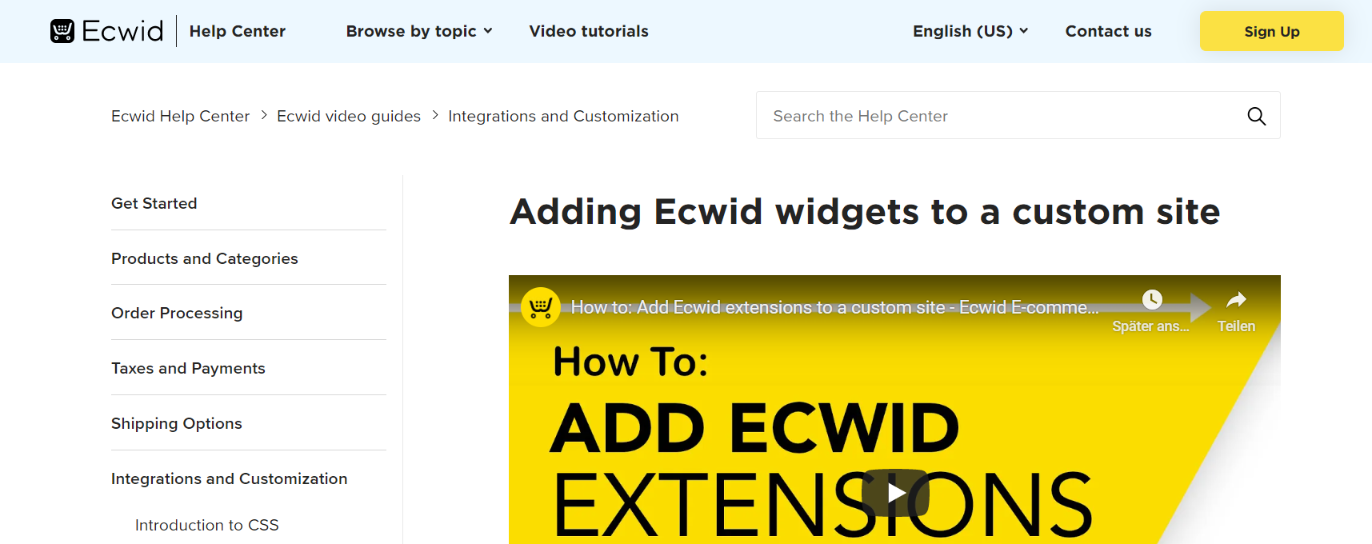 Ecwid Widget Suite: WordPress widget