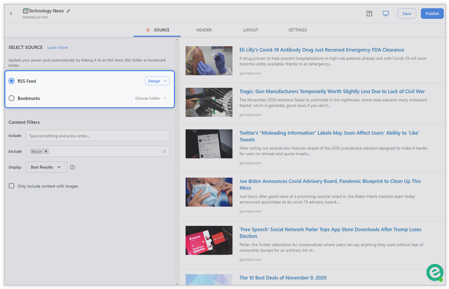 Preview of bundling links from rss feed