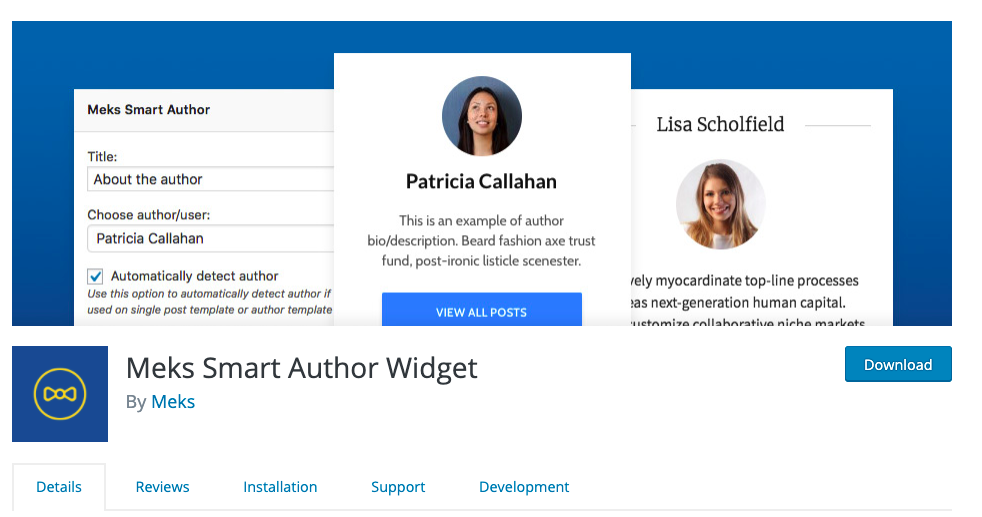 Meks Smart Author Widget: WordPress widget