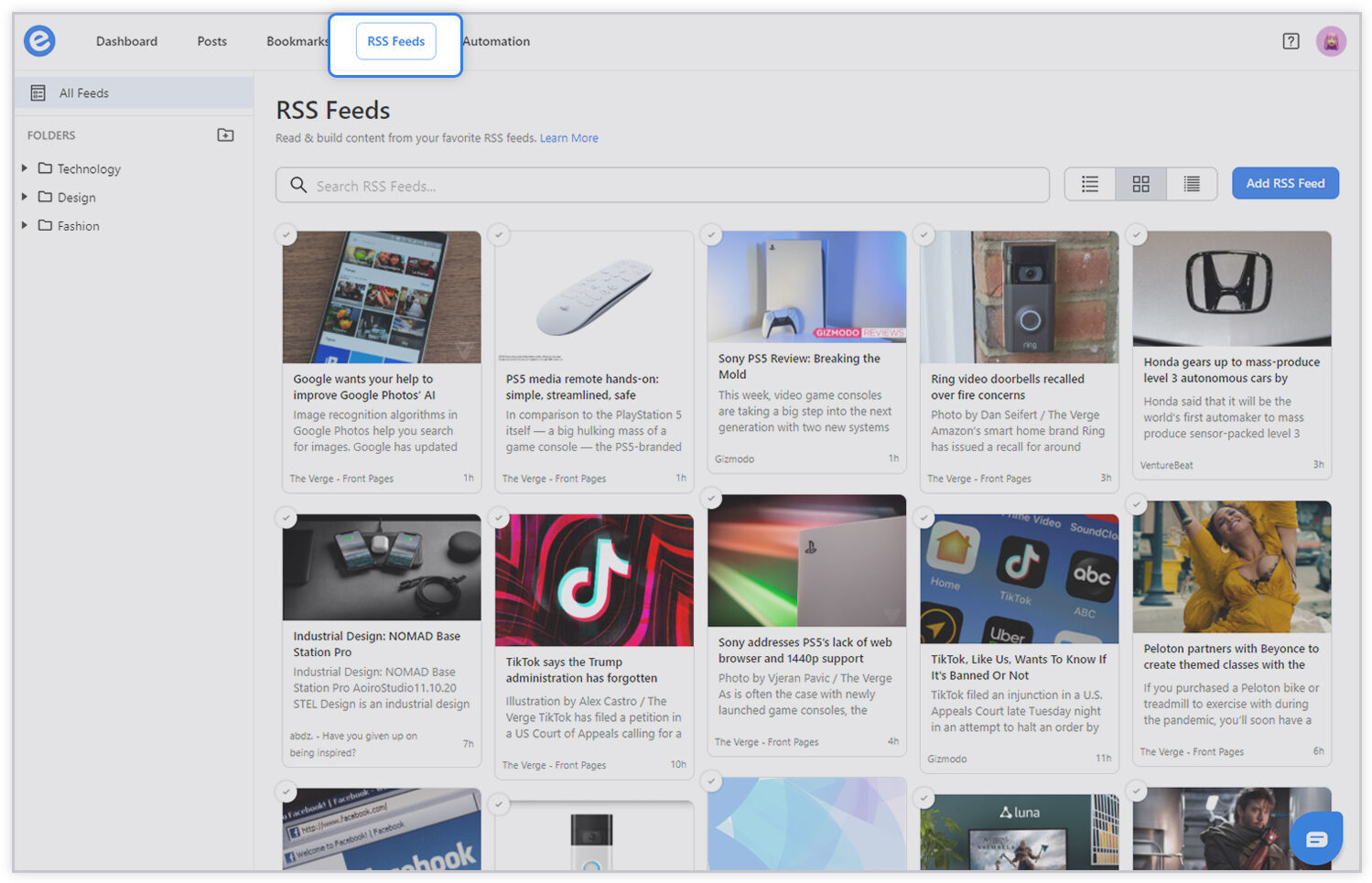 Preview of rss feeds tab on elink.io