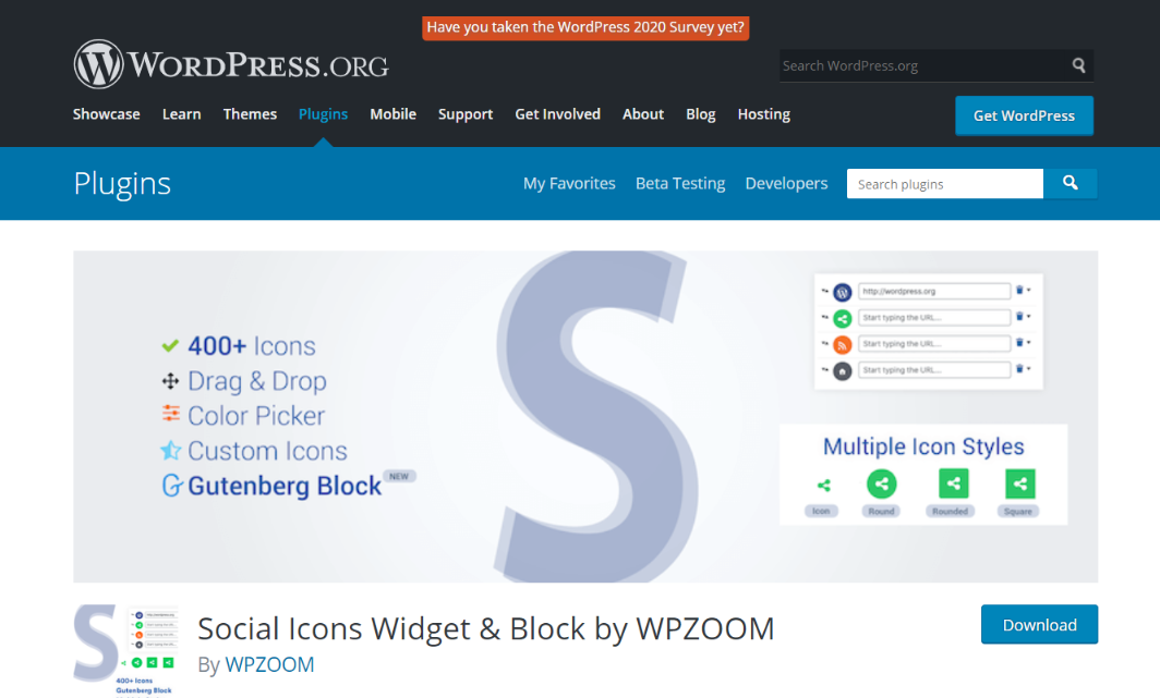 Social Icons Widget by WPZOOM: WordPress widget