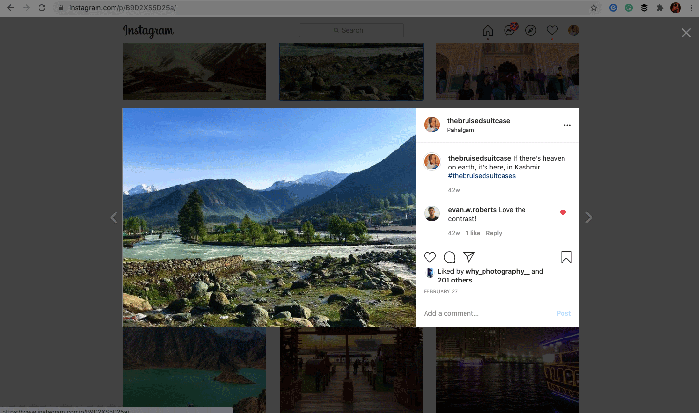 Preview of saving an instagram feed on elink