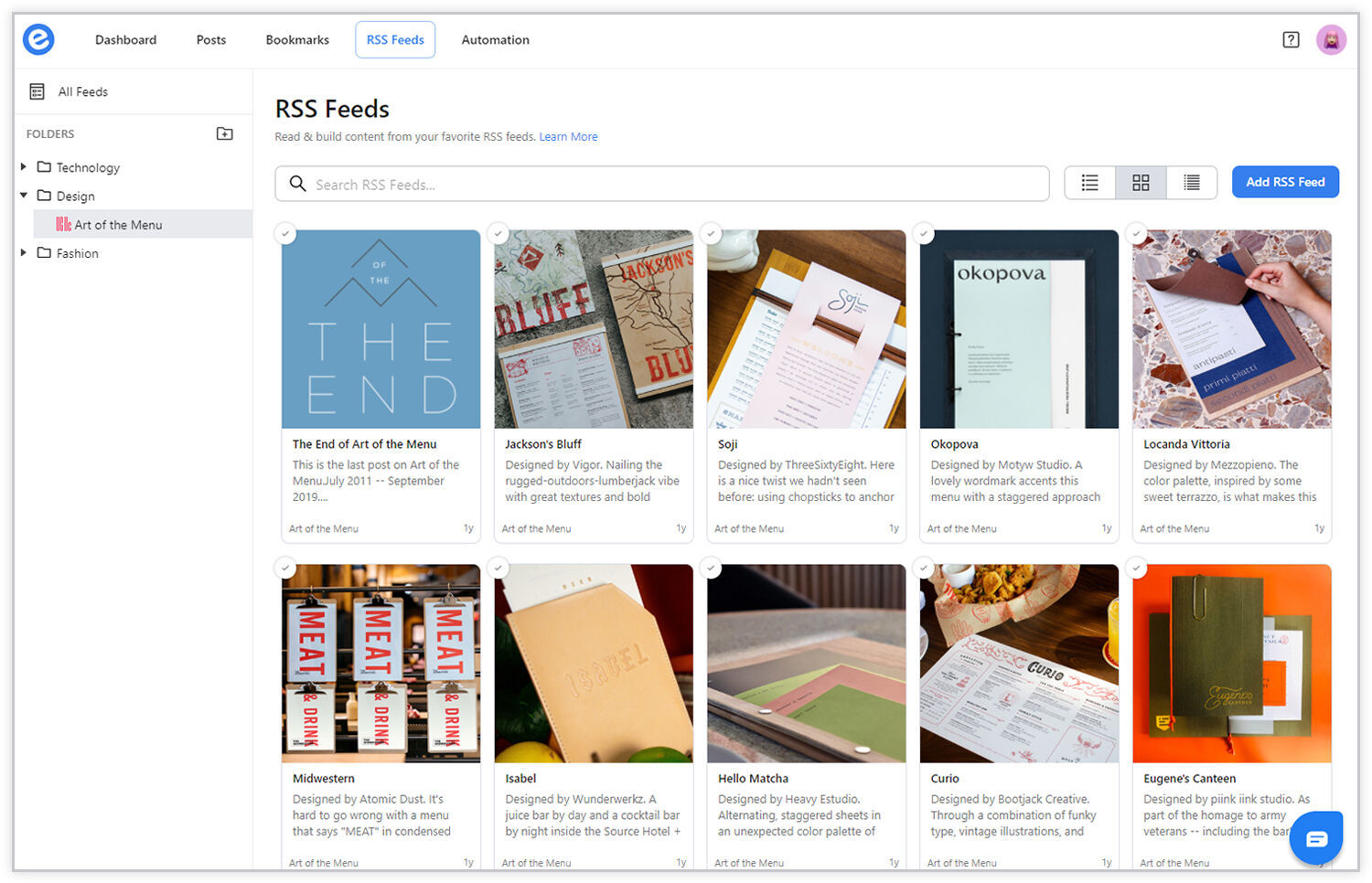 Preview of selected rss feeds