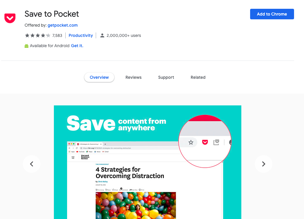 Save to pocket: Chrome Extensions to Save Bookmark