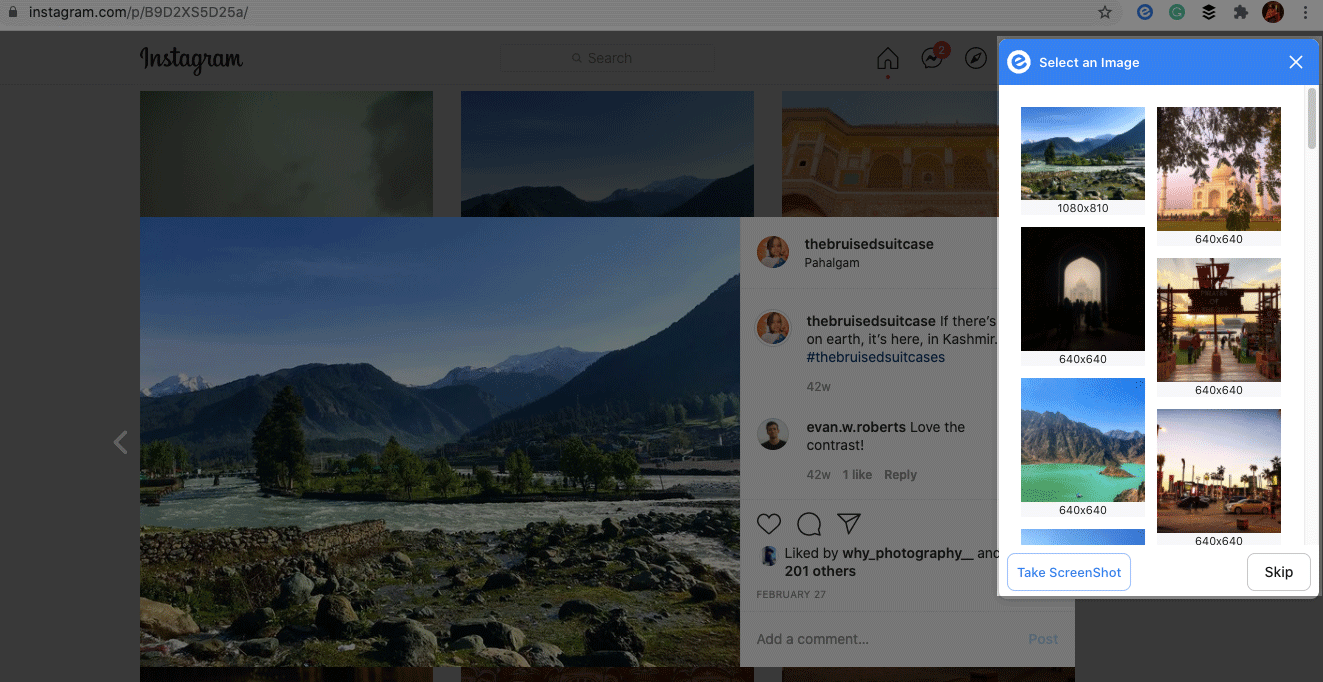 Preview of saving instagram feed image